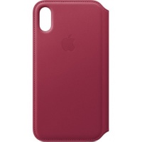 Dėklas Apple iPhone X/XS Leather Folio Berry