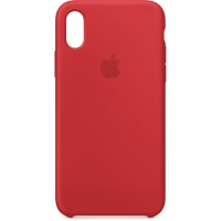Nugarėlė Apple iPhone XS Silicone Case Red + Apsauginis stiklas