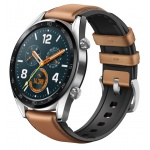 Huawei Watch GT Silver/Saddle Brown Leather Silicone Strap